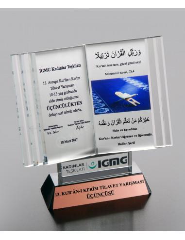 Promosyon Kristal Kitap Ödülü C Ödül Kristal Plaket