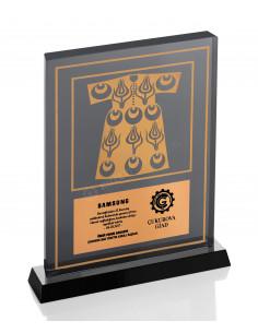 Promosyon KZY-1201 Altın Motifli Kristal Plaket