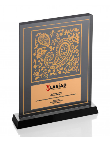 Promosyon KZY-1202 Altın Motifli Kristal Plaket