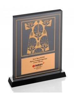 Promosyon KZY-1203 Altın Motifli Kristal Plaket