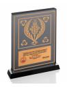Promosyon KZY-1206 Altın Motifli Kristal Plaket