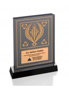Promosyon KZY-1207 Altın Motifli Kristal Plaket