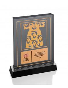Promosyon KZY-1208 Altın Motifli Kristal Plaket