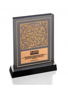 Promosyon KZY-1209 Altın Motifli Kristal Plaket