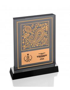 Promosyon KZY-1210 Altın Motifli Kristal Plaket