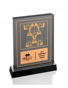 Promosyon KZY-1211 Altın Motifli Kristal Plaket