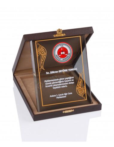 Promosyon KZY-2001 B Altın Motifli Kristal Plaket