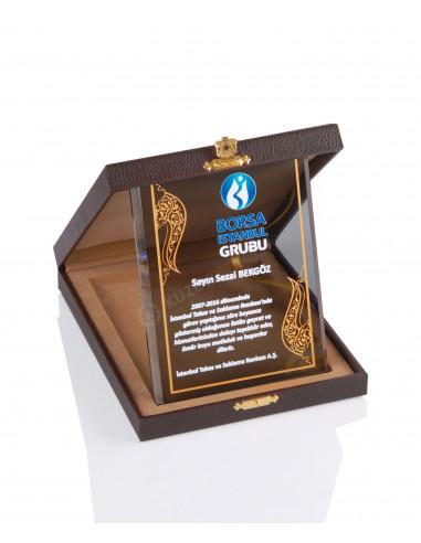 Promosyon KZY-2001 C Altın Motifli Kristal Plaket