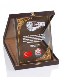 KZY-2002 A Altın Motifli Kristal Plaket