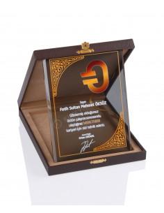 KZY-2002 B Altın Motifli Kristal Plaket