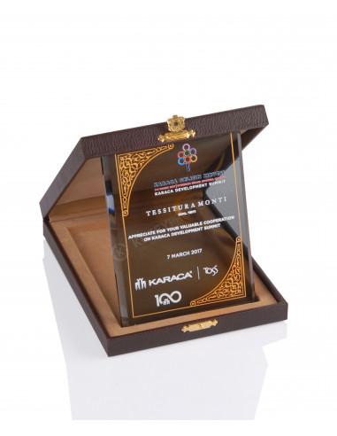 Promosyon KZY-2002 C Altın Motifli Kristal Plaket