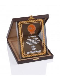 KZY-2003 B Altın Motifli Kristal Plaket