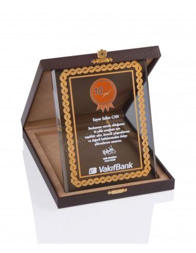 Promosyon KZY-2003 B Altın Motifli Kristal Plaket