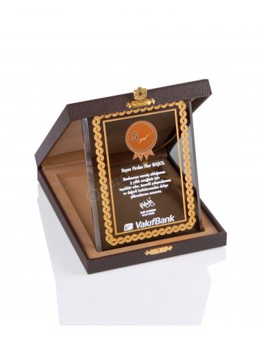 Promosyon KZY-2003 C Altın Motifli Kristal Plaket