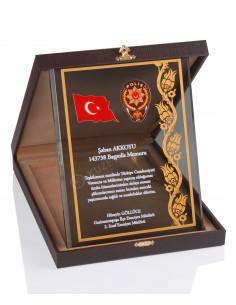 KZY-2004 A Altın Motifli Kristal Plaket