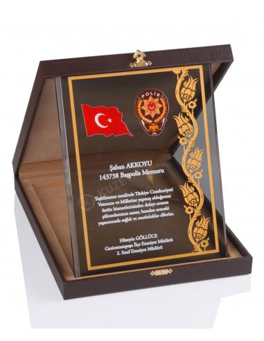 Promosyon KZY-2004 A Altın Motifli Kristal Plaket