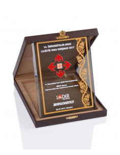 KZY-2004 B Altın Motifli Kristal Plaket
