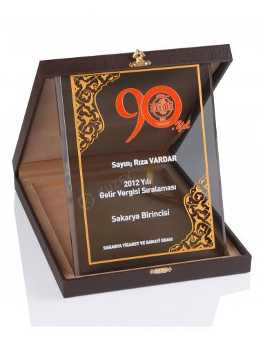 Promosyon KZY-2005 A Altın Motifli Kristal Plaket