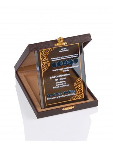 Promosyon KZY-2005 C Altın Motifli Kristal Plaket