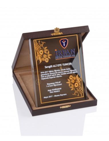 Promosyon KZY-2006 B Altın Motifli Kristal Plaket