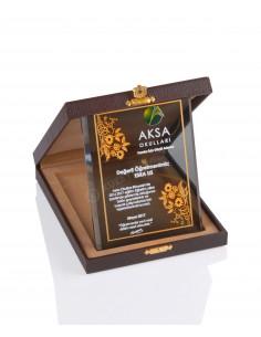 Promosyon KZY-2006 C Altın Motifli Kristal Plaket