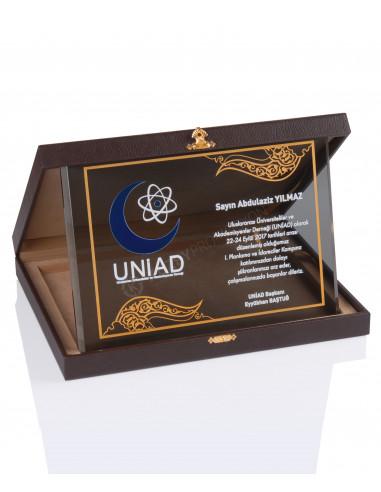 Promosyon KZY-2007 A Altın Motifli Kristal Plaket