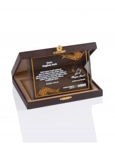 Promosyon KZY-2007 C Altın Motifli Kristal Plaket