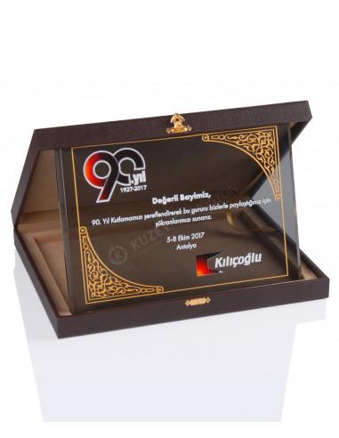 Promosyon KZY-2008 A Altın Motifli Kristal Plaket