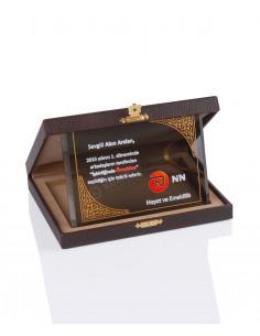 Promosyon KZY-2008 C Altın Motifli Kristal Plaket