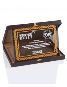Promosyon KZY-2009 A Altın Motifli Kristal Plaket
