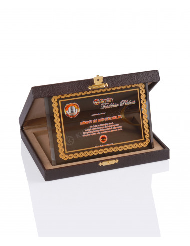Promosyon KZY-2009 C Altın Motifli Kristal Plaket