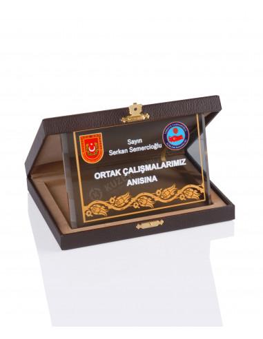 Promosyon KZY-2010 C Altın Motifli Kristal Plaket