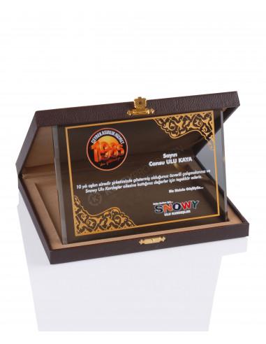 Promosyon KZY-2011 B Altın Motifli Kristal Plaket