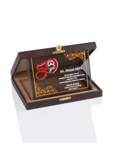 Promosyon KZY-2011 C Altın Motifli Kristal Plaket