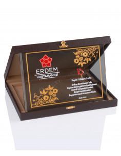 Promosyon KZY-2012 A Altın Motifli Kristal Plaket