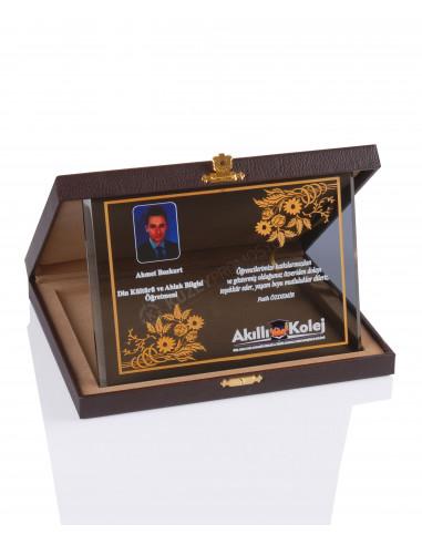 Promosyon KZY-2012 B Altın Motifli Kristal Plaket