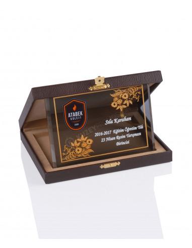 Promosyon KZY-2012 C Altın Motifli Kristal Plaket
