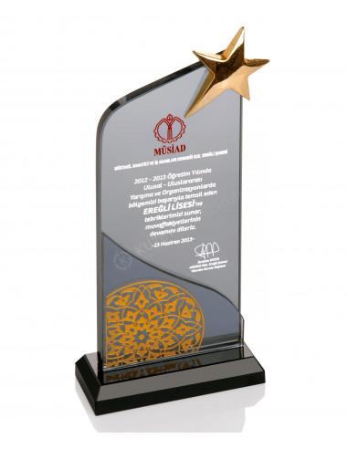Promosyon KZY-328 GOLD Altın Motifli Kristal Plaket