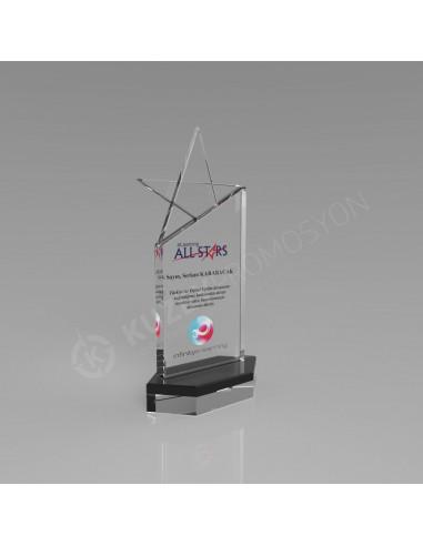 Promosyon KZY-222 Yıldızlı Kristal Plaket