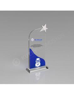 Promosyon KZY-328lacivert Yıldızlı Kristal Plaket