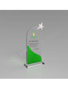 Promosyon KZY-328yeşil Yıldızlı Kristal Plaket