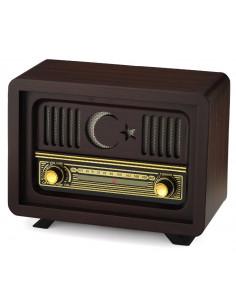 Nostaljik Ahşap Radyo Ay Yıldız Manuel