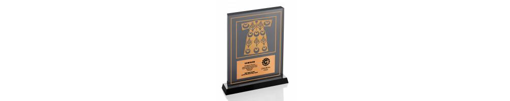 Altın Motifli Kristal Plaket